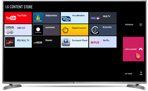 LG Smart TV, select the category APPS & GAMES