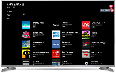 LG Smart TV, select the Entertainment category